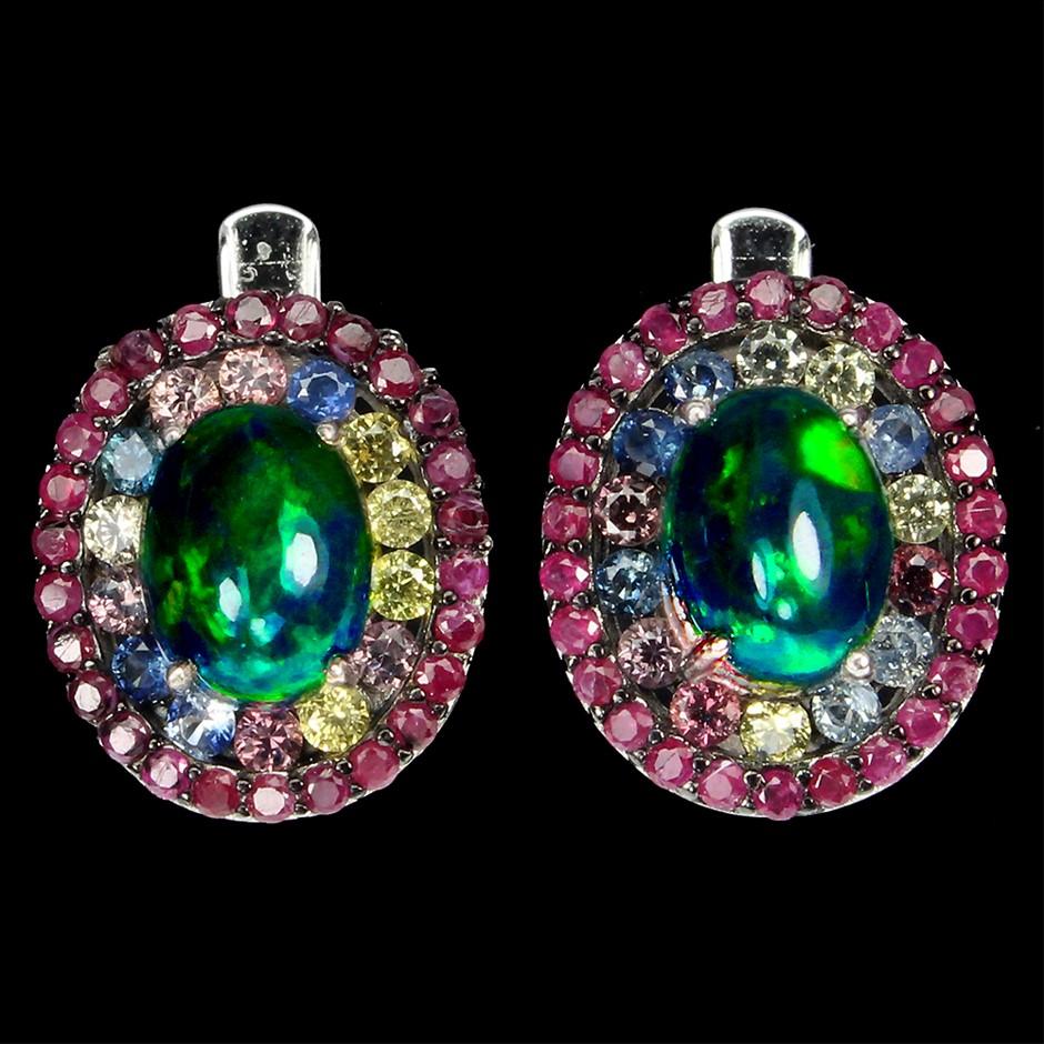 Spectacular Genuine Rainbow Hot Opal & Sapphire Earrings