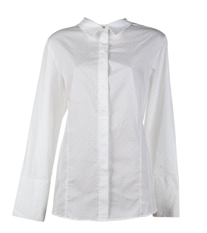 STUDIO.W Women`s Dress Shirt. Size 18, Colour: White w/ Grey Spots. Buyers