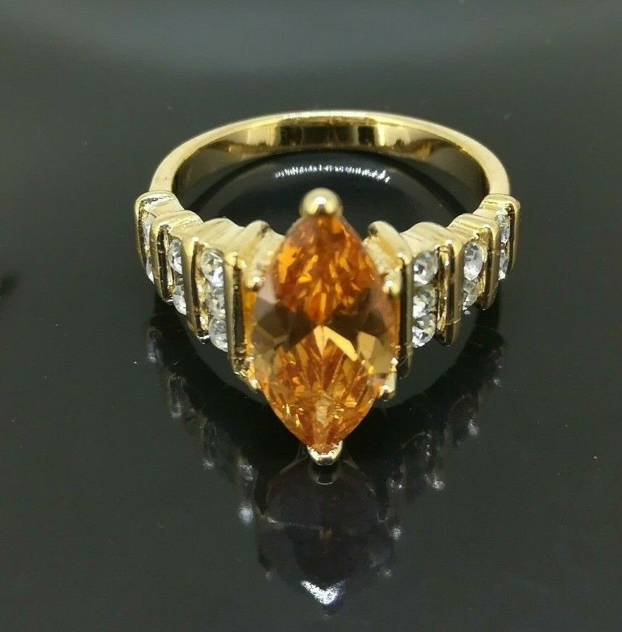 Elegant Classic 18k Yellow gold filled Oval CZ Woman ring Size 8
