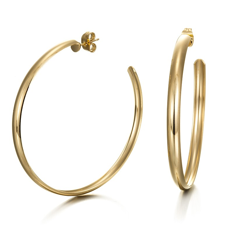 18ct Yellow Gold Layered Extra Wide Hoop Earrings