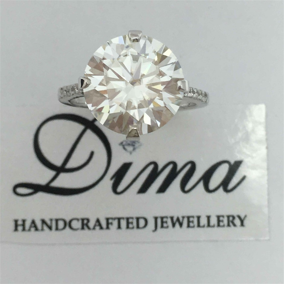 18ct White Gold, 6.18ct Moissanite and Diamond Engagement Ring