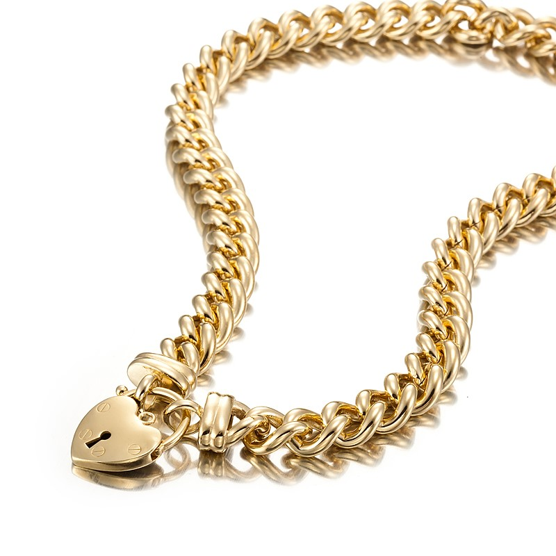 18ct Yellow Gold Layered Euro Chain Necklace Featuring a Plain Locket