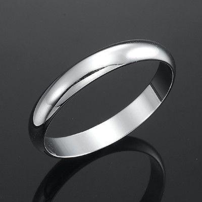 18ct Rhodium Layered Men's Band Ring (4mm) - US Size 10
