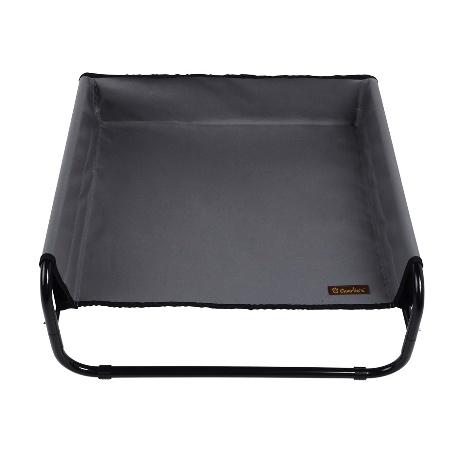 Charlie's Pet High Walled Outdoor Trampoline Pet Bed Cot - Grey -70x70x28cm