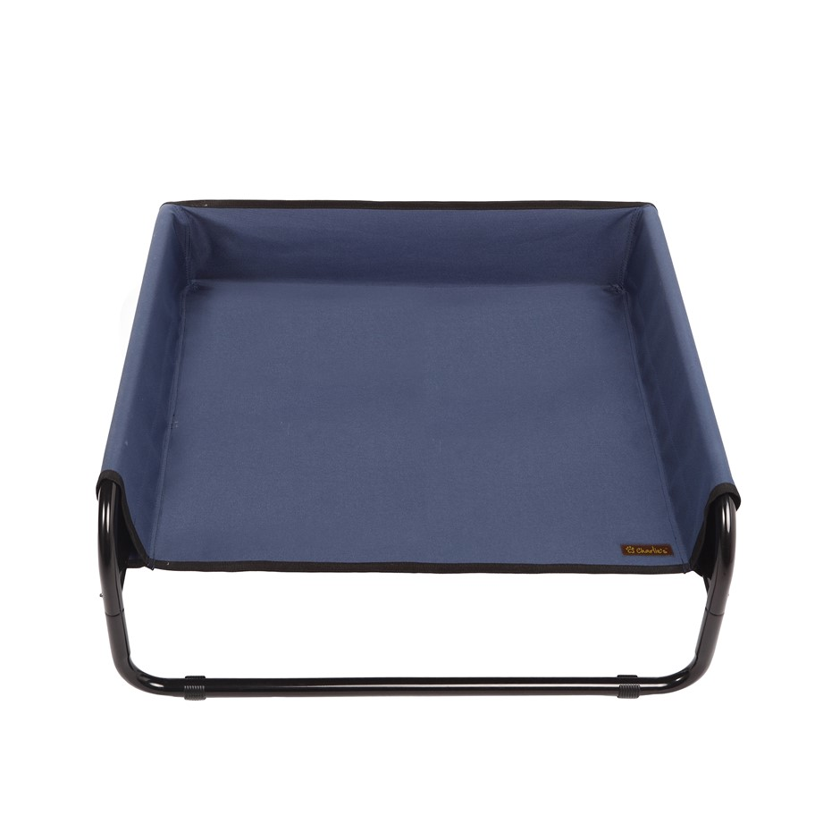 Charlie's Pet High Walled Outdoor Trampoline Pet Bed Cot - Blue -70x70x28cm