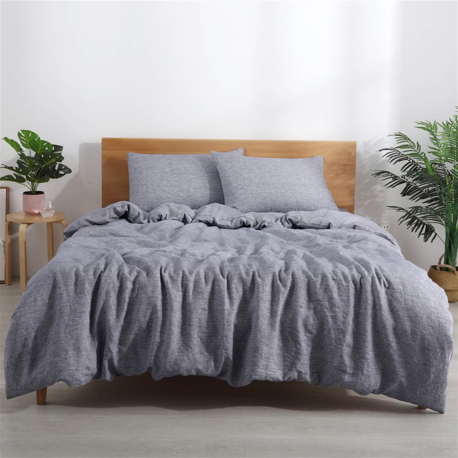 Natural Home Classic Pinstripe Linen Quilt Cover Set Queen Bed Navy/White