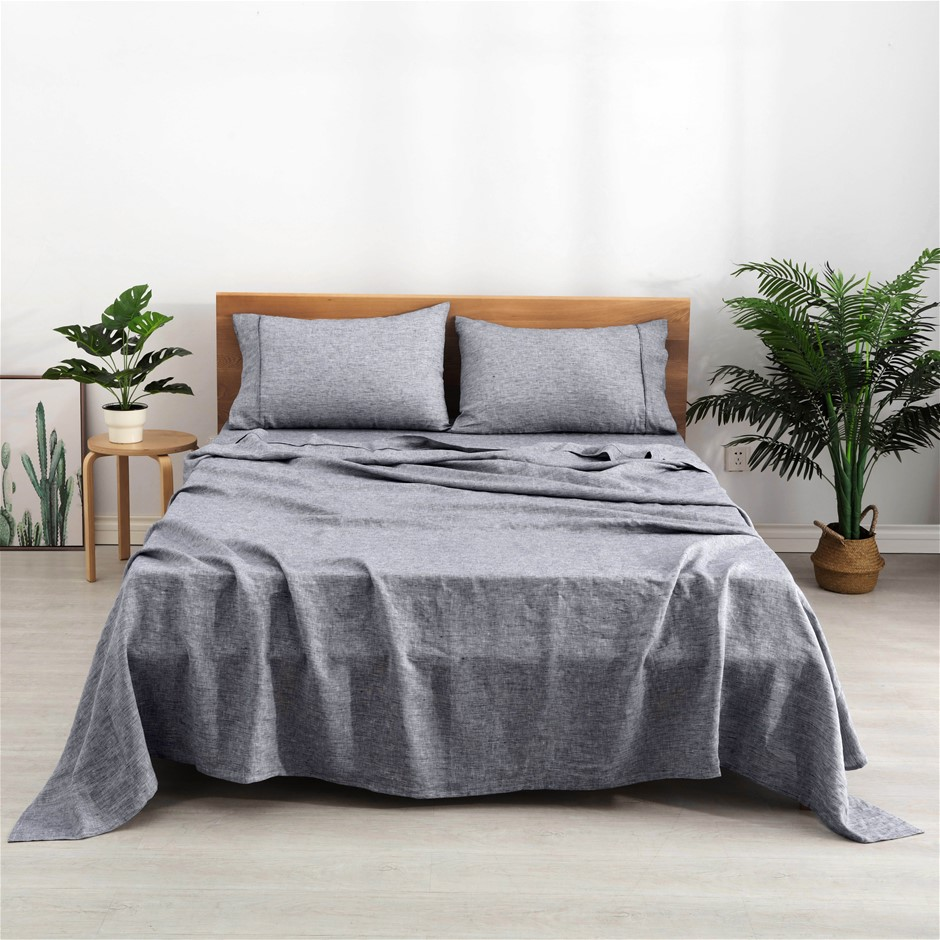 Natural Home Classic Pinstripe Linen Sheet Set Queen Bed Navy and White