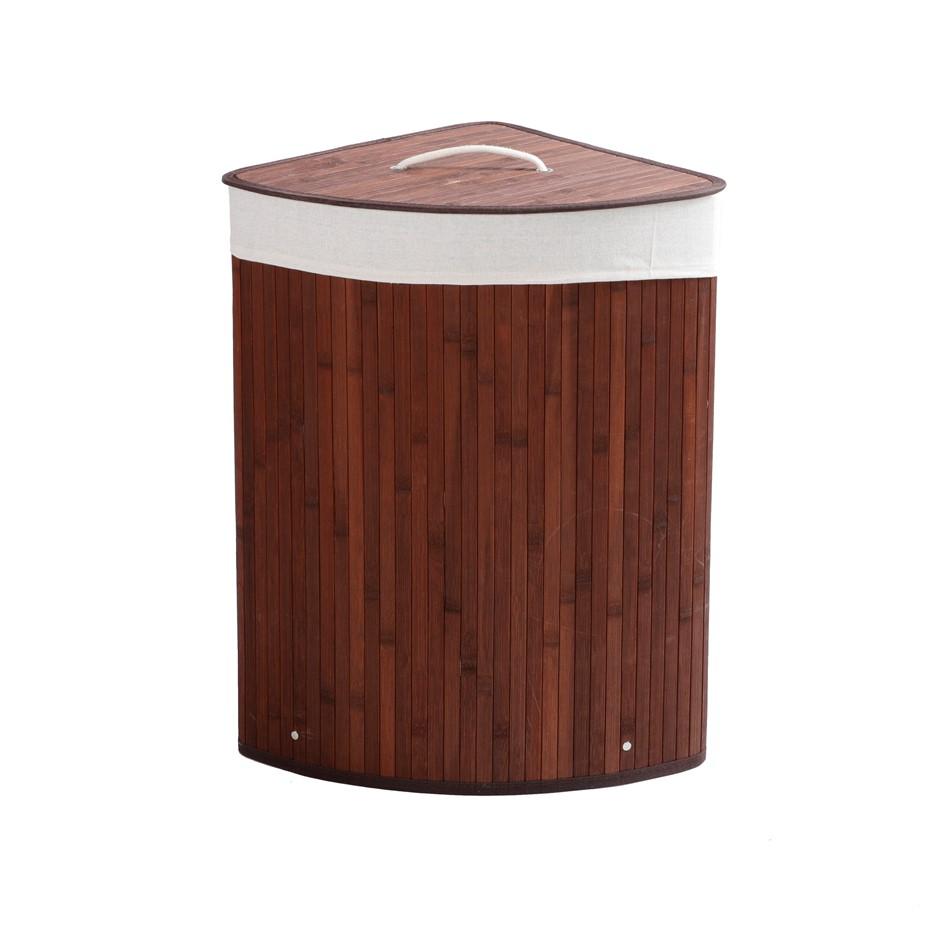 Sherwood Home Corner Folding Bamboo Laundry Hamper - Brown - 35x35x60cm