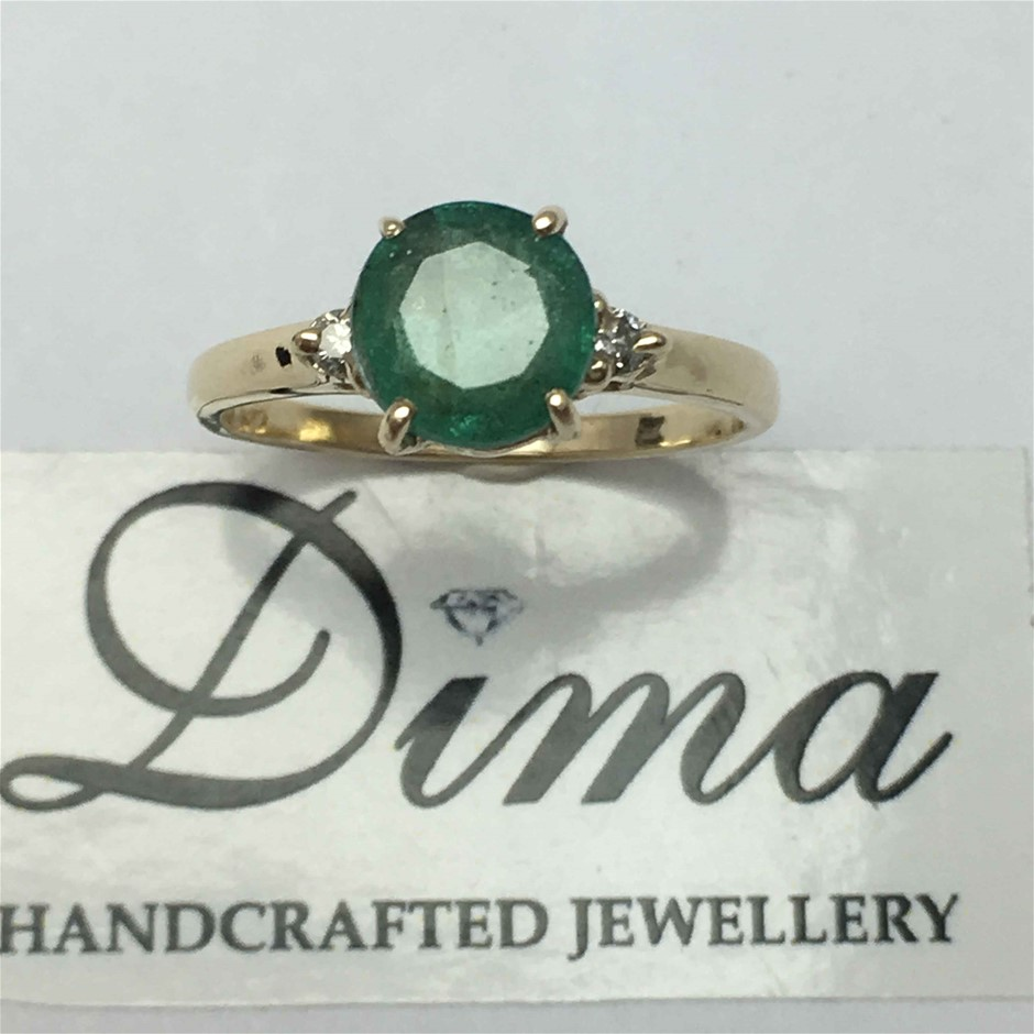 18ct Yellow Gold, 1.92ct Emerald and Diamond Ring