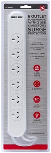 6 Way Outlet Power Board Socket with 2 U