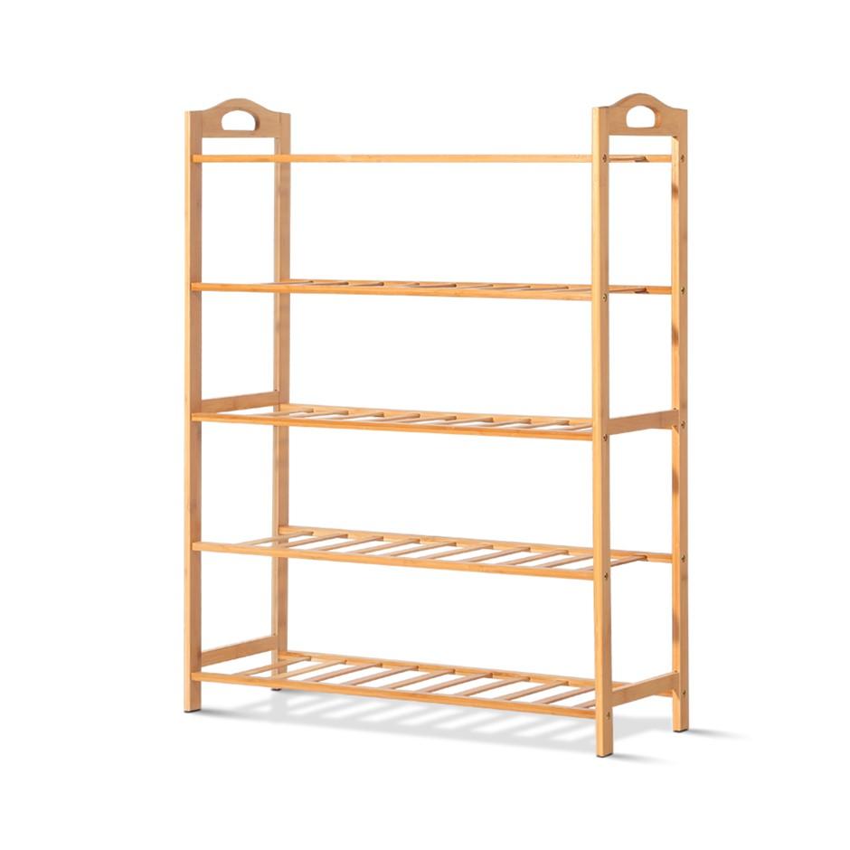 5 Tiers Layers Bamboo Shoe Rack Organizer Storage Shelf Stand