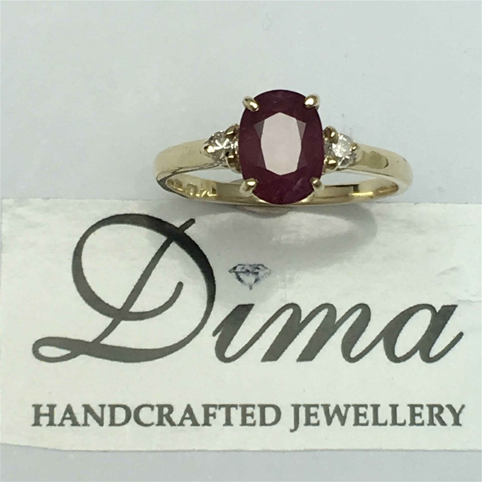 9ct Yellow Gold, 1.42ct Ruby and Diamond Ring