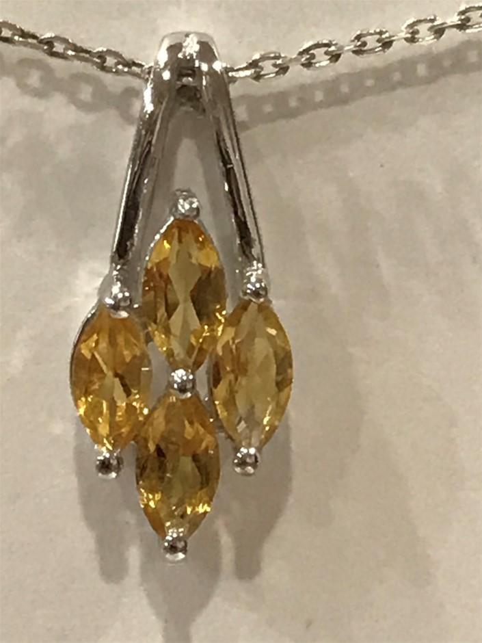 Quality Golden Citrine Genuine 1.40ct & White/Gold Vermeil Pendant