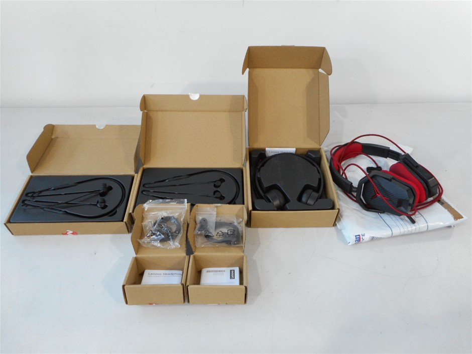 Box of USED/UNTESTED Assorted Lenovo Headphones