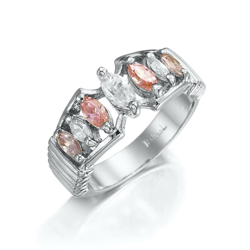 Stunning Rhodium Layered Pink & Simulated Diamond Pave Ring - US Size 7