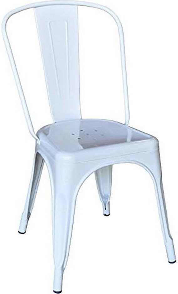 PFG DIRECT CM002-White 2 x Stackable Metal Chair, White