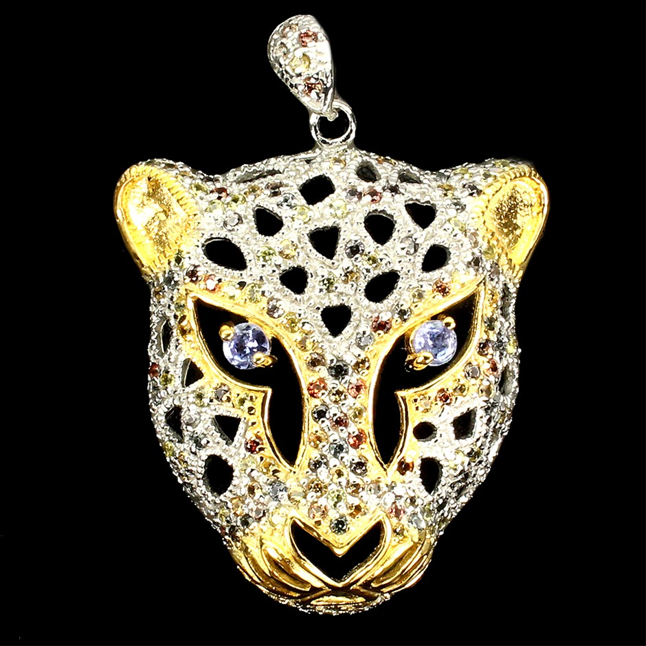 Striking Genuine Tanzanite & sapphire Tiger Head Pendant