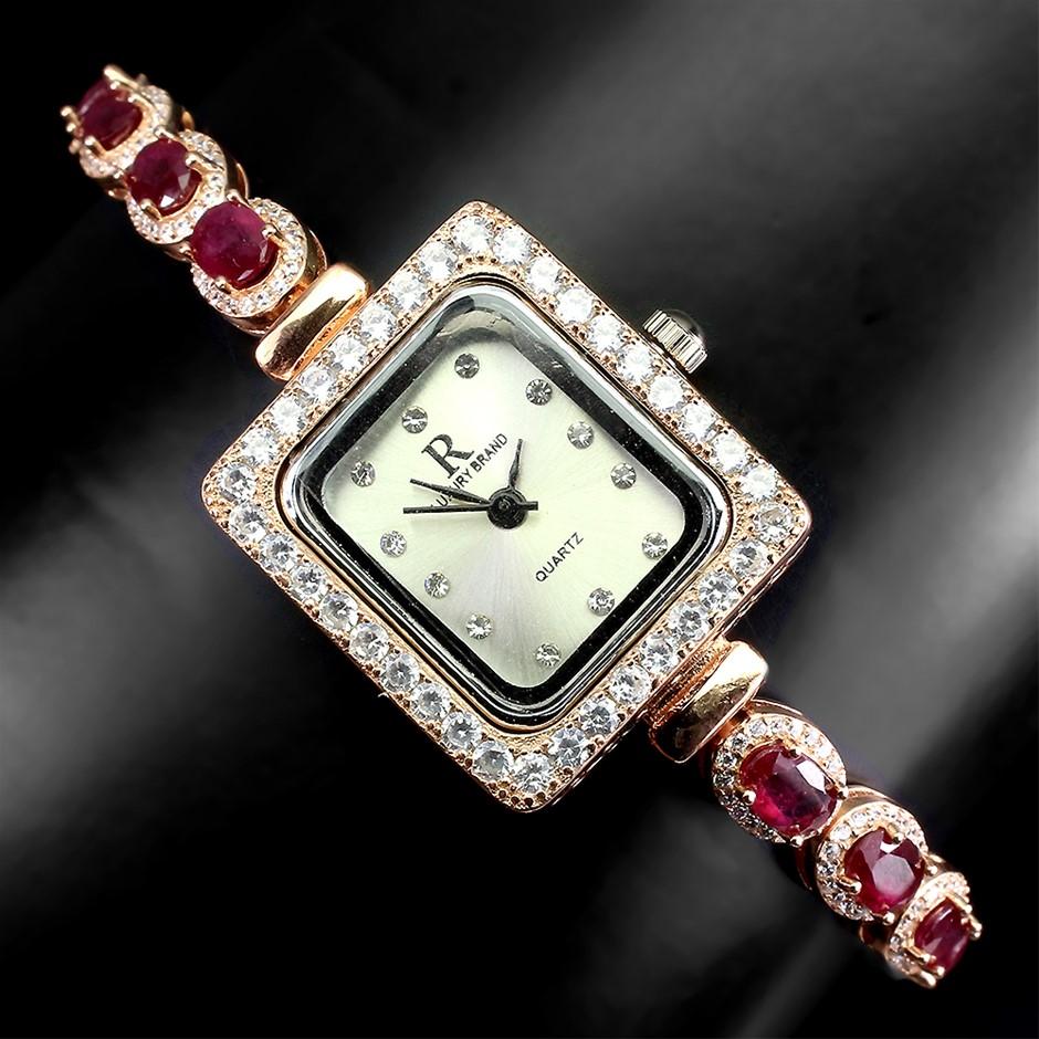 Phenomenal Genuine Ruby Tennis Bracelet Watch.