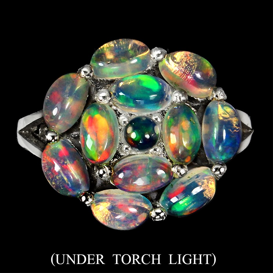 Beautiful Genuine Rainbow FireOpal Ring.
