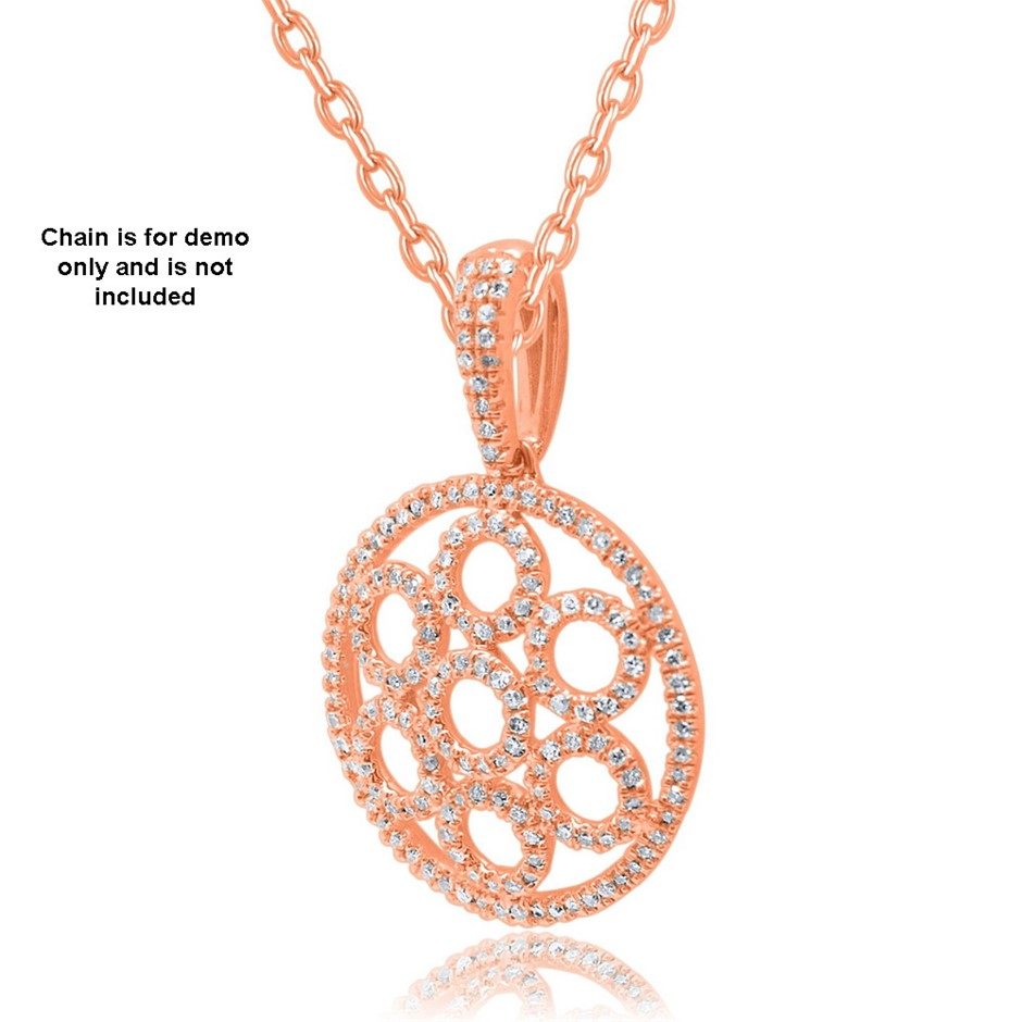 9ct Rose Gold, 0.26ct Diamond Pendant