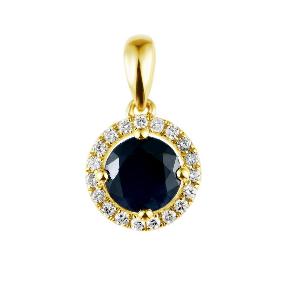 9ct Yellow Gold, 1.34ct Blue Sapphire and Diamond Pendant