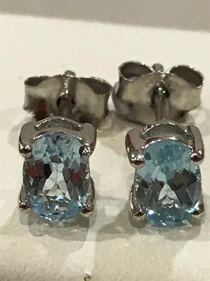 Stunning Blue Topaz & White/Gold Vermeil Stud Earrings