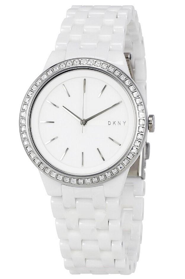 Designer DKNY Stylish Park Slope White Ceramic Ladies Watch.