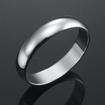 18ct Rhodium Layered Men's Band Ring (5mm) - US Size 10