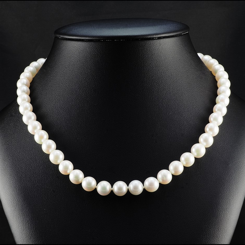 9ct White Gold, 44.10gm Pearl Necklace