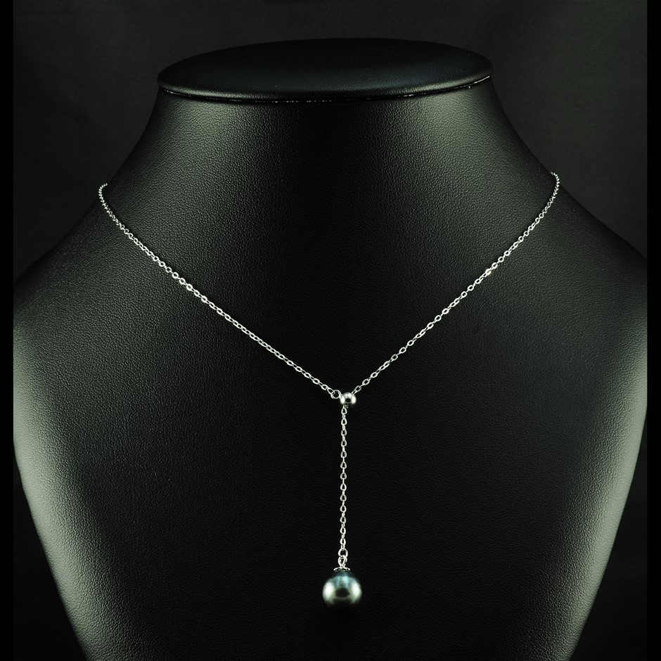 Tahitian pearl set silver necklace