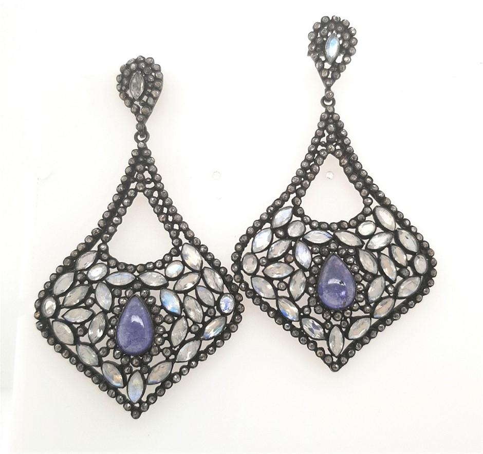S/Silver Tanzanite, Rainbow Moonstone & Diamond Chip Earrings