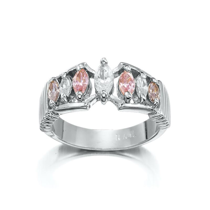 Stunning Rhodium Layered Pink & Simulated Diamond Pave Ring - US Size 6