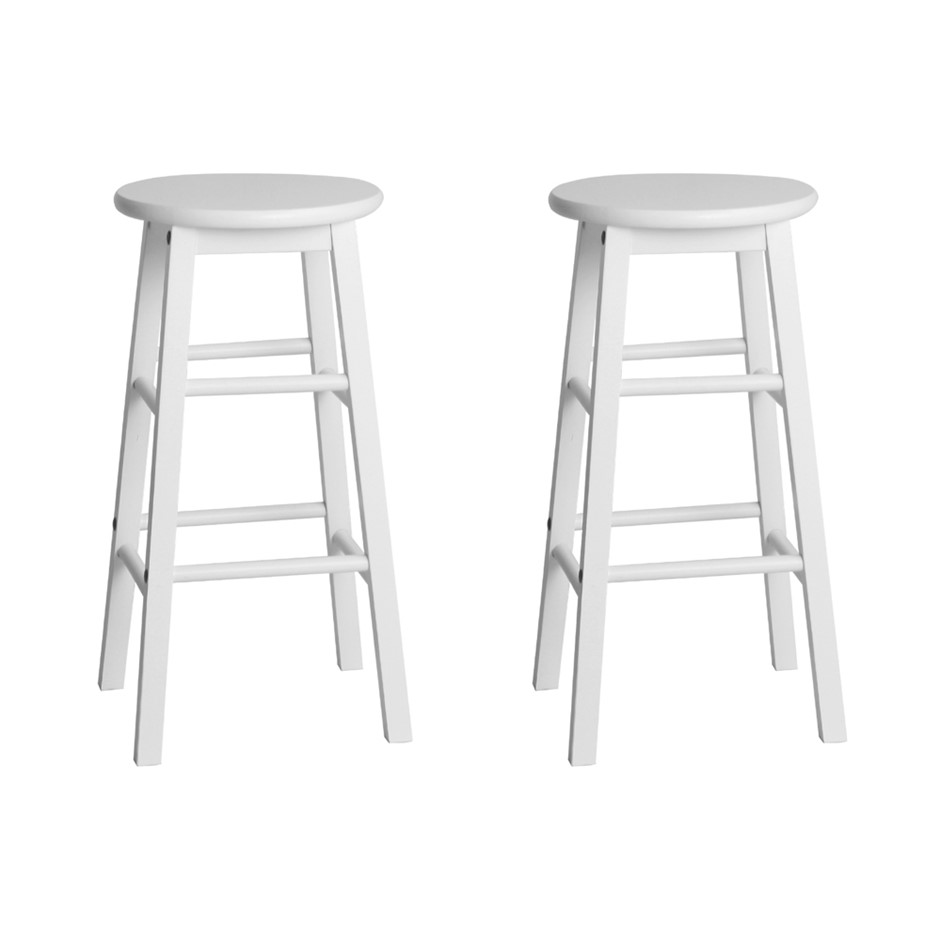 Artiss 2 x Wooden Bar Stools Dining Chairs Kitchen White Barstools