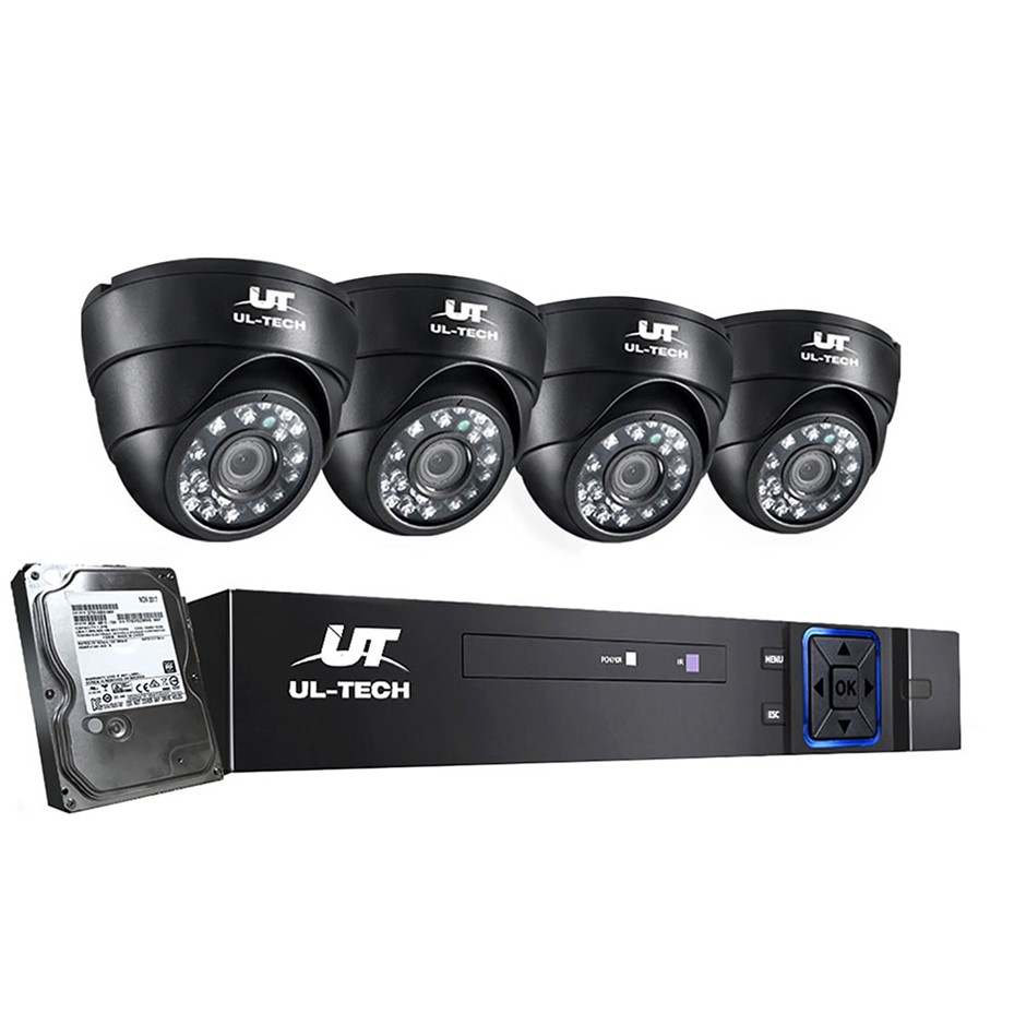 ULtech CCTV Camera Security System Home 8CH DVR 1080P 4 Dome 1TB Hard Drive