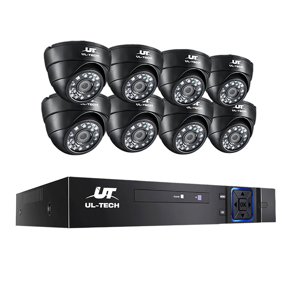 ULtech CCTV Camera Home Security System 8CH DVR 1080P IP 8 Dome Long Range