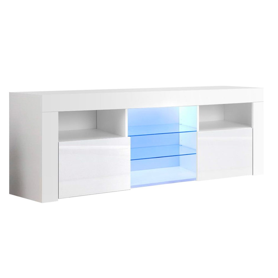 Artiss TV Cabinet Entertainment Unit Stand RGB LED Gloss Furniture 145cm