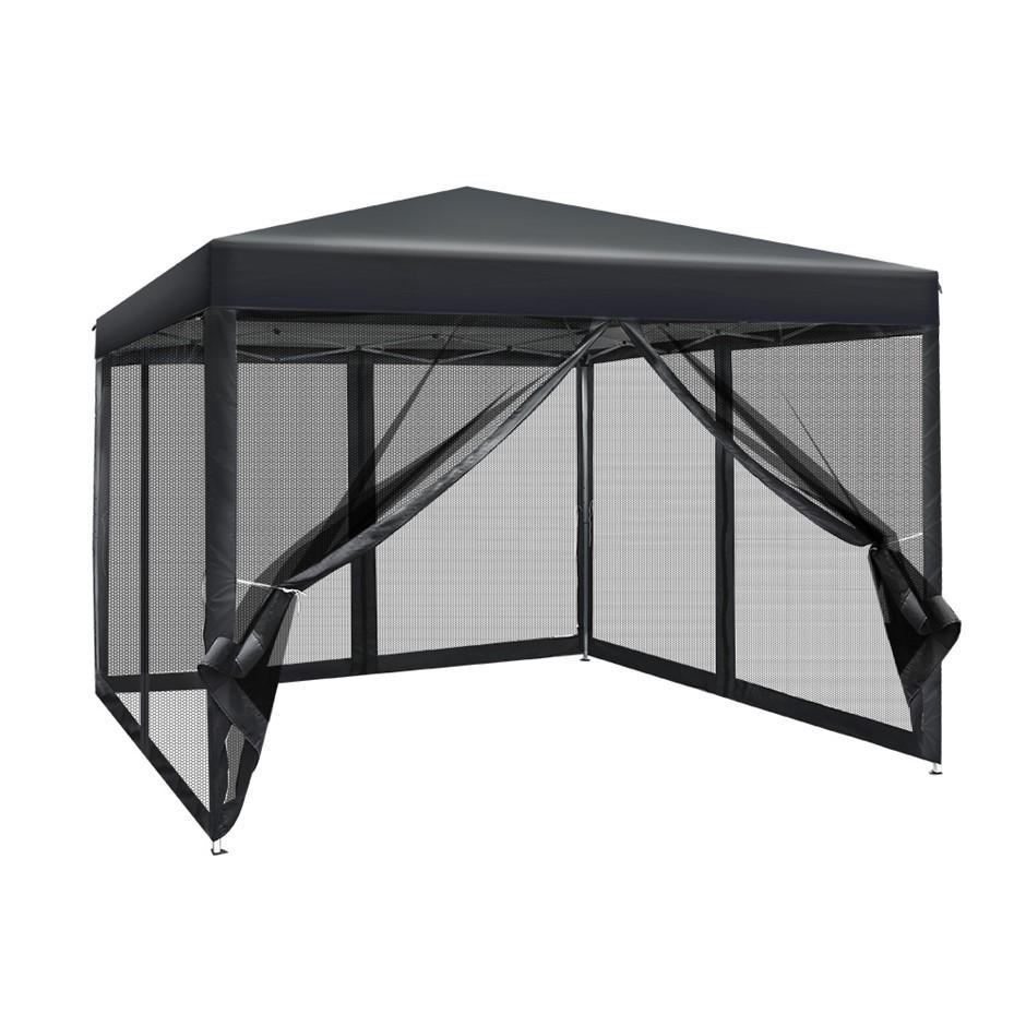 Instahut 3x3m Pop Up Gazebo Wedding Marquee Mesh Walls Canopy Outdoor Tent