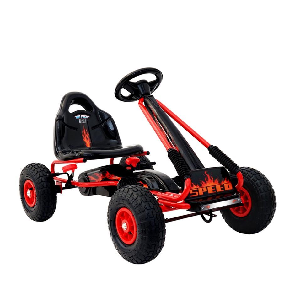 Rigo Kids Pedal Go Kart Ride On Toy Racing Bike Rubber Tyre Adjustable Seat