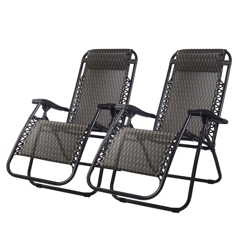 Gardeon Zero Gravity Chairs 2PC Reclining Outdoor Furniture Sun Lounge Grey