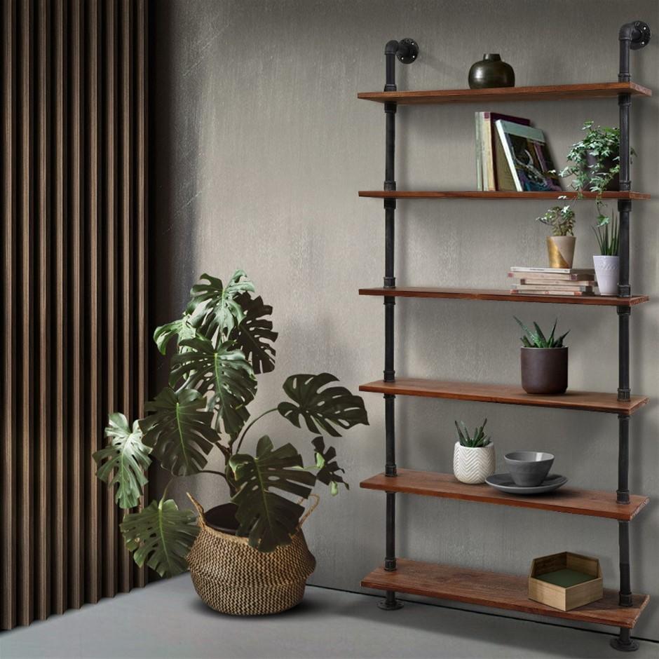 Artiss Rustic Vintage DIY Pipe Shelf Shelves Brackets Wall Bookshelf