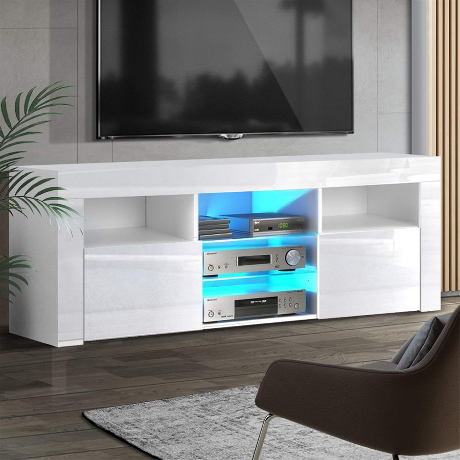 Artiss TV Cabinet Entertainment Unit Stand RGB LED Gloss Furniture 160cm
