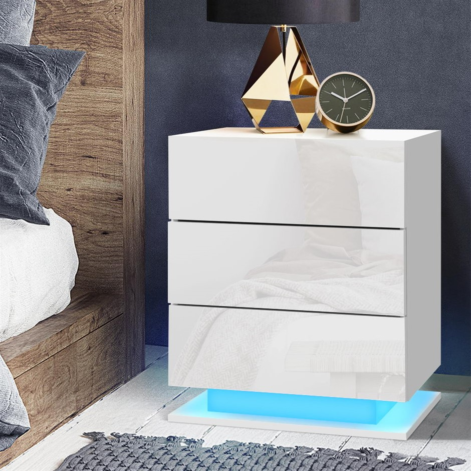 Artiss Bedside Tables Side Table RGB LED Lamp 2 Drawers Nightstand Gloss