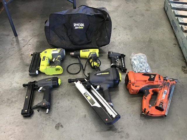 Assorted Ryobi Tools and Nail Guns