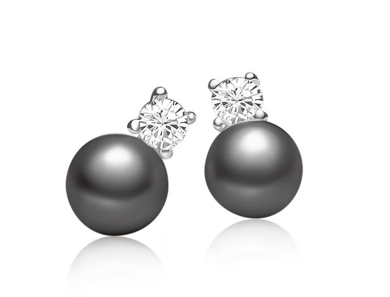 Genuine Freshwater Pearl Stud Earrings (Black)