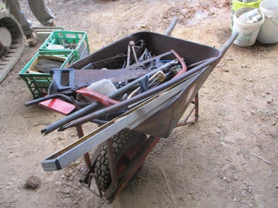 Wheelbarrow with Timber Handles & Metal Bucket