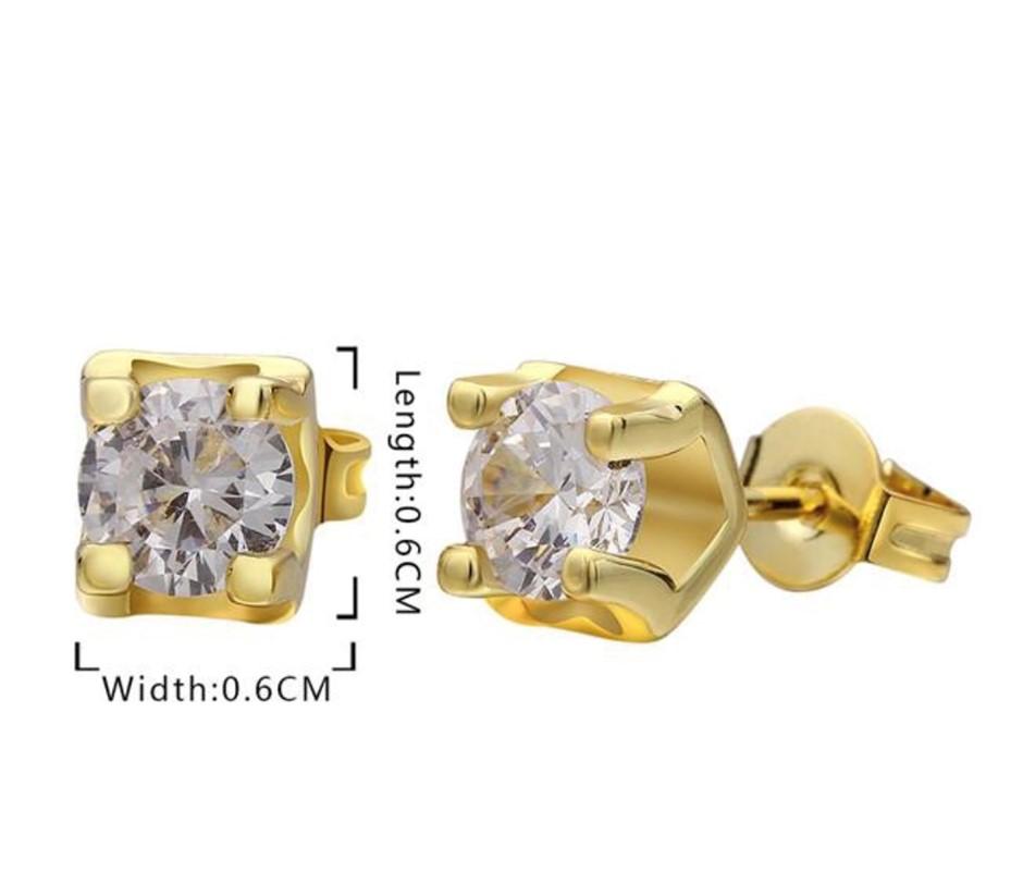 18K Gold plated cz stud earrings