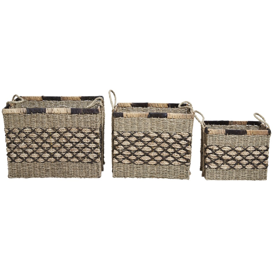 Boho Traders Equador Woven Rectangular Baskets 3 Pieces, Blac