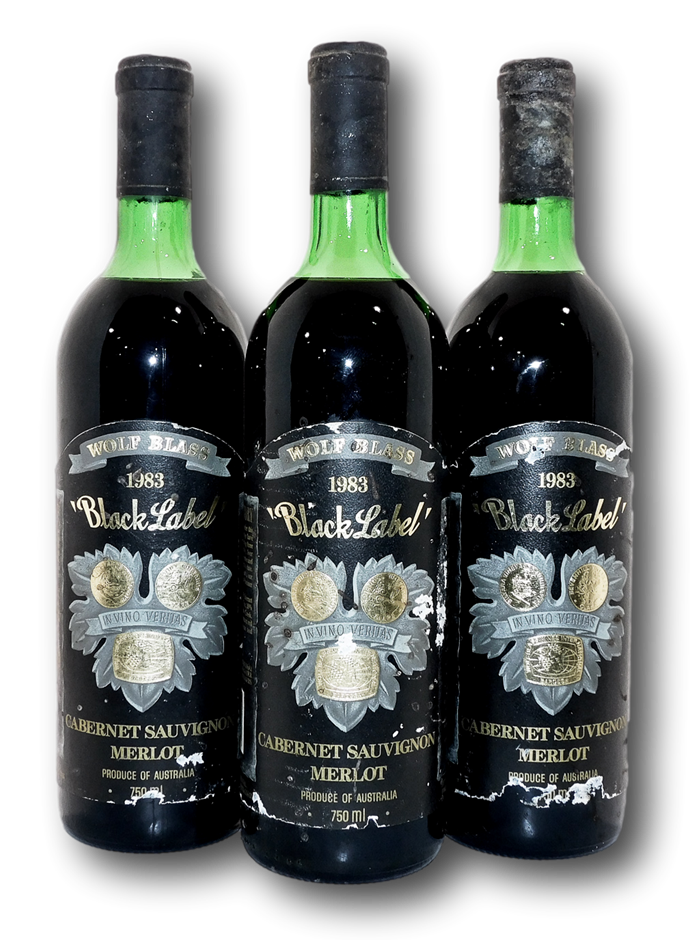 Wolf Blass Black Label Cabernet Shiraz Merlot 1983 (3x 750mL), SA