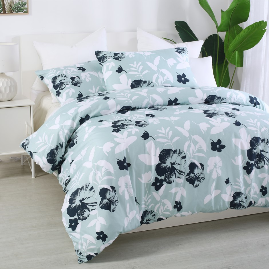 Dreamaker Printed Quilt Cover Set Whisper - Queen Bed