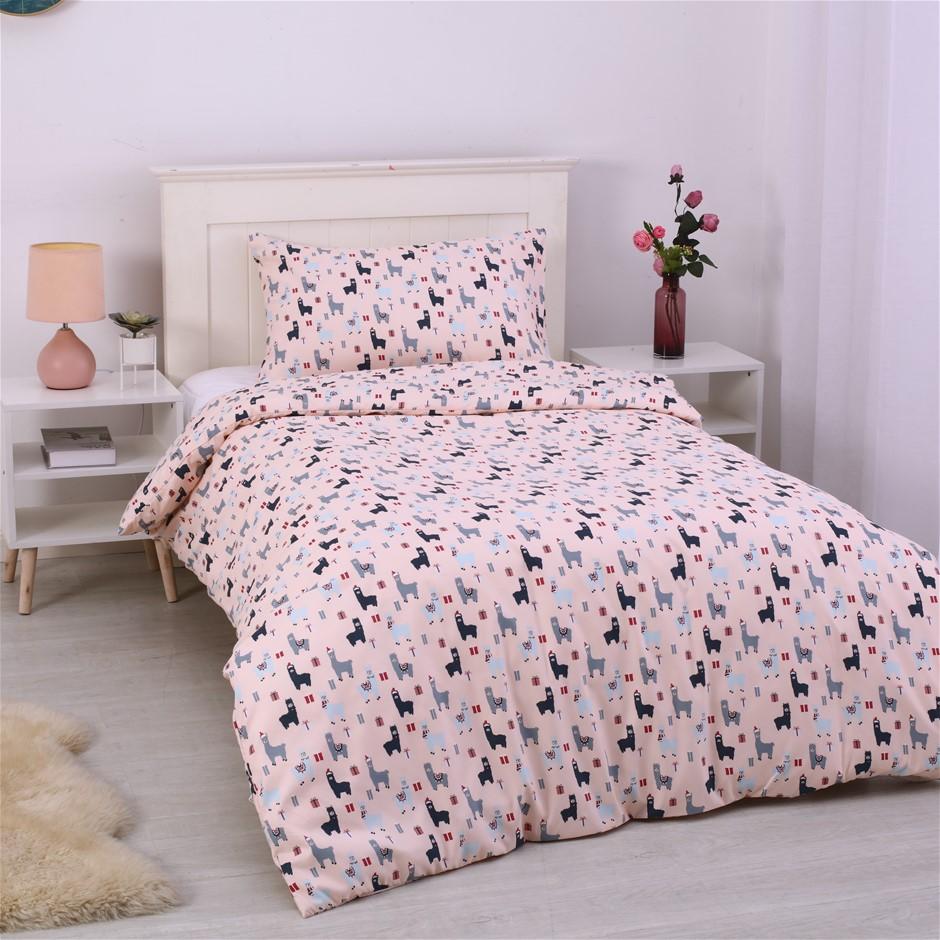 Dreamaker Printed Quilt Cover Set Blush Llamas - King Single Bed